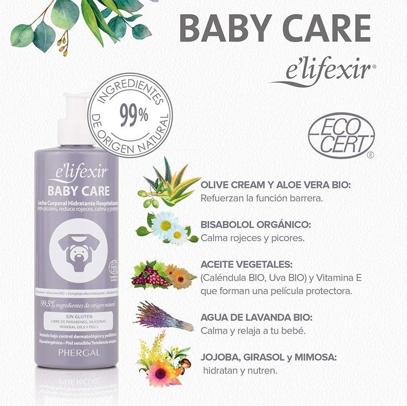Ingredientes leche corporal hidratante bebes